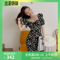 Dress Summer 2021 black S, M Short skirt singleton  Short sleeve commute V-neck middle-waisted Broken flowers A-line skirt other Others 18-24 years old Type A Other / other Korean version 81% (inclusive) - 90% (inclusive) Chiffon polyester fiber