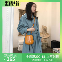 Dress Spring 2020 Haze blue S,M,L,XL longuette singleton  Long sleeves commute square neck High waist Solid color Single breasted Princess Dress routine Others 25-29 years old Type A Other / other lady bow WN0001011 51% (inclusive) - 70% (inclusive) other polyester fiber