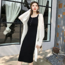 Dress Summer 2020 black Average size Mid length dress singleton  Sleeveless commute One word collar High waist Solid color Socket One pace skirt camisole Type H Korean version Button