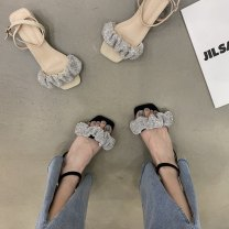 Sandals 35,36,37,38,39 Black, off white PU Qiankanuo Round head Flat bottom Low heel (1-3cm) Summer 2021 Trochanter Korean version Solid color Adhesive shoes Middle aged (40-60 years old), young (18-40 years old) rubber daily Back space Lateral space PU PU Single shoes Zero point eight