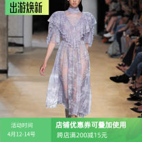 Dress Summer 2020 violet S,M,L,XL Mid length dress singleton  Short sleeve street stand collar High waist Solid color zipper Big swing other Others Gontbalei / PALACE BALLET Printing, lace, zipper, stitching, pleating, hollowing, ruffle Europe and America