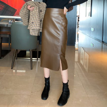 skirt Winter 2020 M, L Black, brown Mid length dress sexy High waist other Solid color Type H 25-29 years old Q-51 30% and below other