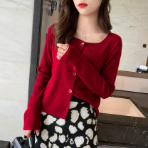 Wool knitwear Autumn of 2019 Average size Long sleeves singleton  Cardigan other 30% and below Regular routine commute easy square neck routine Solid color Single breasted 25-29 years old Other / other