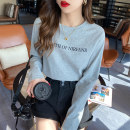 T-shirt Average size Spring 2021 Long sleeves Crew neck easy Regular routine commute cotton 96% and above 18-24 years old Korean version originality letter Other / other TX-252 printing
