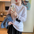 T-shirt White, black, grey Average size Autumn 2020 Long sleeves Crew neck easy Regular routine commute cotton 30% and below 25-29 years old Korean version youth Solid color TX-168