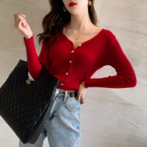 Wool knitwear Spring 2020 Average size, m, l White, black, red, yellow, green, pink, rose Long sleeves singleton  Cardigan other 30% and below Regular routine commute Self cultivation V-neck routine Solid color Single breasted Korean version ZZ-32 25-29 years old Other / other Button