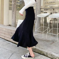 skirt Autumn 2020 S,M,L Pink, black Mid length dress Versatile Natural waist A-line skirt Solid color Type A 25-29 years old Q-40 30% and below other Other / other other