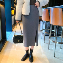 skirt Winter 2020 Average size Black, gray, apricot, black and white stripes Mid length dress commute skirt Type H 25-29 years old Q-49 30% and below other other lady