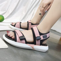 Sandals 35,36,37,38,39,40 Black, pink PU Other / other Barefoot Square heel Low heel (1-3cm) Summer 2020 Flat buckle Korean version Solid color Adhesive shoes Youth (18-40 years old), children (under 18 years old) rubber Front and rear trip strap Cross bandage Hollow PU PU Sports sandals