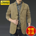 man 's suit Army green, black, khaki Jeep / Jeep Fashion City routine easy Triple single breasted Travel? No slits middle age Long sleeves autumn routine Basic public Casual clothes Flat lapel Straight hem Solid color Wide neck (9-11cm) pure cotton 2020 Three dimensional bag cotton Multiple pockets