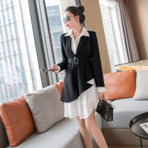 Dress Spring 2021 black S,M,L,XL Short skirt Three piece set Long sleeves commute Polo collar High waist Solid color Single breasted A-line skirt shirt sleeve Others 25-29 years old Type A lady Pocket, button
