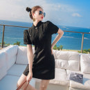 Dress Summer 2021 black S,M,L,XL Short skirt Fake two pieces Short sleeve commute other High waist Solid color zipper A-line skirt puff sleeve Others 25-29 years old Type A lady Chain, zipper