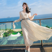 Dress Spring 2021 cream-colored S,M,L,XL longuette singleton  Long sleeves commute Crew neck High waist stripe zipper Big swing shirt sleeve Others 25-29 years old Type A lady Pleated, three-dimensional decoration, zipper