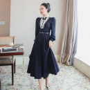 Dress Spring 2021 Black, dark blue S,M,L,XL Mid length dress singleton  Long sleeves commute other High waist Solid color zipper A-line skirt routine Others 25-29 years old Type A lady zipper