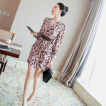 Dress Spring 2021 Pink S,M,L,XL Short skirt singleton  Long sleeves commute V-neck High waist Leopard Print other A-line skirt shirt sleeve Others 25-29 years old Type A lady Frenulum