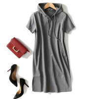 Dress Spring of 2018 grey S,M,L Mid length dress singleton  Short sleeve commute Hood Loose waist Solid color Socket 25-29 years old Type H cotton