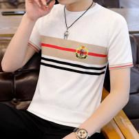 T-shirt Youth fashion Khaki, white, black routine M,L,XL,2XL,3XL Others Short sleeve Crew neck Super slim daily summer tide 2021 cotton Fashion brand 90% (inclusive) - 95% (inclusive)