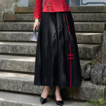 skirt Autumn 2020 Average size black longuette commute High waist A-line skirt Solid color Type A 25-29 years old hemp Splicing ethnic style