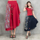 skirt Spring 2021 Average size Dark blue, red Mid length dress commute Natural waist Irregular Type A 31% (inclusive) - 50% (inclusive) Other / other hemp Splicing ethnic style