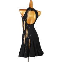 Latin Dance Costume The charm of glory female S,M,L,XL,XXL Black, red Tassel LQ223