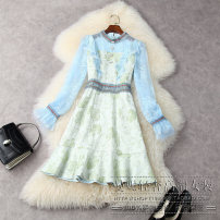 Dress Spring 2021 green S,M,L,XL Short skirt singleton  Long sleeves commute Crew neck High waist Solid color Socket A-line skirt routine 25-29 years old Type A lady Lace More than 95% Lace polyester fiber