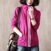 Sweater / sweater Spring 2016 Light grey, rose red M,L,XL,2XL,3XL Long sleeves routine Cardigan singleton  routine Half open collar easy commute routine stripe 91% (inclusive) - 95% (inclusive) Korean version cotton Pocket, zipper zipper