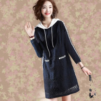 Dress Summer 2020 Navy, long sleeves M,L,XL,2XL,3XL,4XL Middle-skirt singleton  Short sleeve commute Hood High waist Solid color Socket other routine Others 25-29 years old Type H Other / other Korean version Pocket, lace, stitching, lace TYFF-073 91% (inclusive) - 95% (inclusive) Lace Vinylon