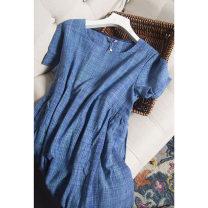 Dress Spring 2021 Blue green check pocket L,XL Mid length dress singleton  Short sleeve commute Crew neck Loose waist Type H Pu Xu Retro A0498 91% (inclusive) - 95% (inclusive) silk