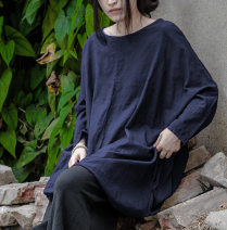 T-shirt Navy, jujube Average size Spring 2020 Short sleeve Crew neck Medium length routine commute cotton 96% and above Retro Solid color One thought Splicing