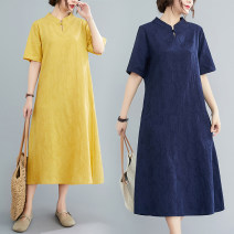 Dress Summer 2020 Blue, Navy, yellow M,L,XL,2XL Miniskirt singleton  Short sleeve commute square neck Loose waist Solid color A button A-line skirt routine Others 25-29 years old Type A literature 51% (inclusive) - 70% (inclusive) other cotton