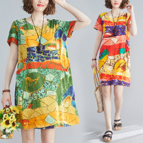 Women's large Summer 2020 Purple, green One size fits all Dress singleton  commute easy thin Conjoined Short sleeve Abstract pattern literature Crew neck Medium length cotton Three dimensional cutting routine Medium length