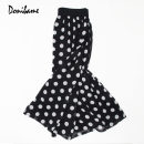 skirt Spring 2021 Average size black Mid length dress commute Natural waist Pleated skirt Dot Type A Donibame / reach · Silence Ol style