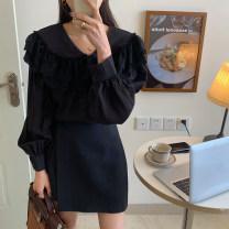 Fashion suit Spring 2021 Average size White shirt, black shirt, skirt s, Skirt M