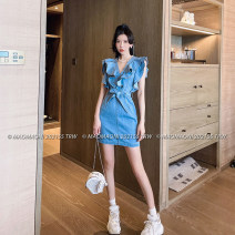 Dress Spring 2021 blue S,M,L Short skirt singleton  Sleeveless commute V-neck High waist Solid color zipper One pace skirt routine Others 18-24 years old Type H LADIES FIRST Korean version Lotus leaf edge D3226 51% (inclusive) - 70% (inclusive) Denim cotton
