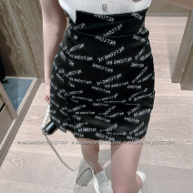 skirt Spring 2021 S,M,L Black, white Short skirt Versatile High waist A-line skirt letter Type H 18-24 years old D3206 51% (inclusive) - 70% (inclusive) other LADIES FIRST polyester fiber 201g / m ^ 2 (including) - 250G / m ^ 2 (including)