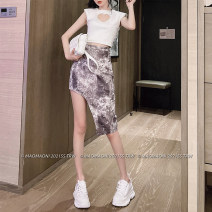 skirt Spring 2021 S,M,L violet Middle-skirt commute High waist skirt Animal pattern Type A 18-24 years old D3243 51% (inclusive) - 70% (inclusive) other LADIES FIRST polyester fiber Splicing Korean version