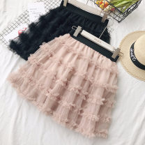 skirt Spring 2021 Average size Black, apricot, pink Short skirt Sweet High waist Fluffy skirt Solid color Type A 18-24 years old 71% (inclusive) - 80% (inclusive) other Other / other other princess