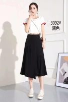 skirt Summer 2021 S,M,L,XL,2XL Black, blue Mid length dress commute High waist other Type H 25-29 years old cotton