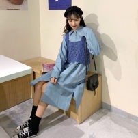 Fashion suit Autumn of 2019 Average size Apricot skirt, blue skirt, yellow vest, blue vest 18-25 years old Other / other 51% (inclusive) - 70% (inclusive)