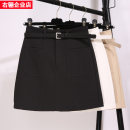 skirt Spring 2020 S,M,L,XL Black, white, khaki Short skirt commute High waist A-line skirt Solid color Type A 18-24 years old SB3228 Pocket, open line decoration Korean version