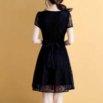 Dress Summer 2021 black M,L,XL,2XL,3XL Short skirt singleton  Short sleeve commute V-neck High waist Solid color Socket A-line skirt routine Others 30-34 years old Type A Weiwei Korean version Hollowed out, Gouhua hollowed out, nail beads, gauze net HG4096XYF