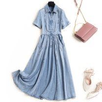 Dress Summer 2021 blue S,XL,L,M longuette singleton  Short sleeve commute Polo collar High waist Solid color Socket A-line skirt routine Others 25-29 years old Type A Britain Stitching, pockets 91% (inclusive) - 95% (inclusive) other other
