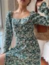 Dress Spring 2021 green S,M,L longuette singleton  Long sleeves commute square neck middle-waisted Decor routine 25-29 years old Type A Muzimuli / muzimuli Retro C898j749 31% (inclusive) - 50% (inclusive) Chiffon hemp