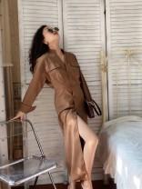 Dress Autumn 2020 Camel XS,S,M,L longuette singleton  Long sleeves street stand collar Solid color Muzimuli / muzimuli 648j392 Europe and America