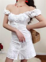 Dress Summer 2020 white S,M,L Short skirt singleton  Short sleeve commute square neck High waist Solid color puff sleeve 18-24 years old Type A Muzimuli / muzimuli lady 6289c738 81% (inclusive) - 90% (inclusive) cotton