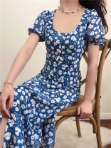Dress Summer 2020 blue S,M,L Mid length dress singleton  Short sleeve commute middle-waisted Decor 18-24 years old Type A Muzimuli / muzimuli Retro H279c999 31% (inclusive) - 50% (inclusive) polyester fiber