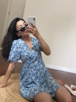 Dress Spring 2020 Blue and white porcelain wrapped skirt S,M,L Short skirt singleton  Short sleeve commute V-neck High waist Decor 18-24 years old Muzimuli / muzimuli Retro h507d742 31% (inclusive) - 50% (inclusive)