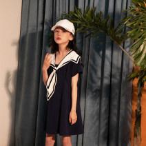 Dress Navy Blue female Rain and stars 120cm, 130cm, 140cm, 150cm, 160cm, s (adult size), m (adult size) Cotton 96% polyurethane elastic fiber (spandex) 4% summer leisure time Short sleeve other cotton other Class B Four, five, six, seven, eight, nine, ten, eleven, twelve, thirteen, fourteen Hangzhou