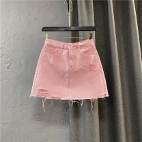 skirt Summer 2021 S,M,L,XL Pink Short skirt commute High waist Denim skirt Solid color Type A 25-29 years old More than 95% Denim cotton Hand worn, zipper Korean version
