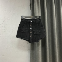 Jeans Spring 2021 black S,M,L,XL shorts High waist Wide legged trousers routine 25-29 years old Cotton denim Dark color